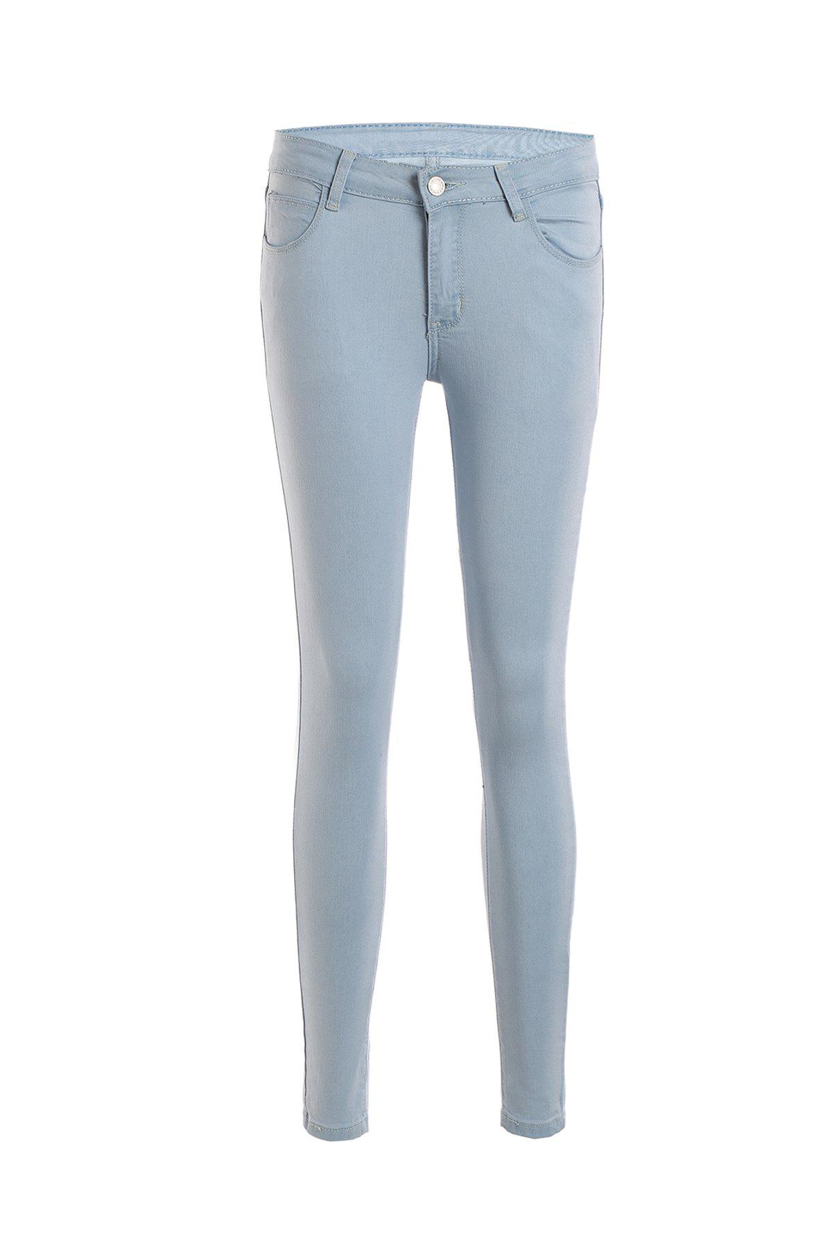 Stylish Mid-Waisted Bleach Wash Slimming Women's Jeans - BLUE M