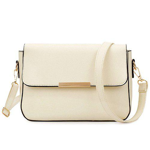 Fashionable Metal and Magnetic Closure Design Women's Crossbody Bag - OFF WHITE