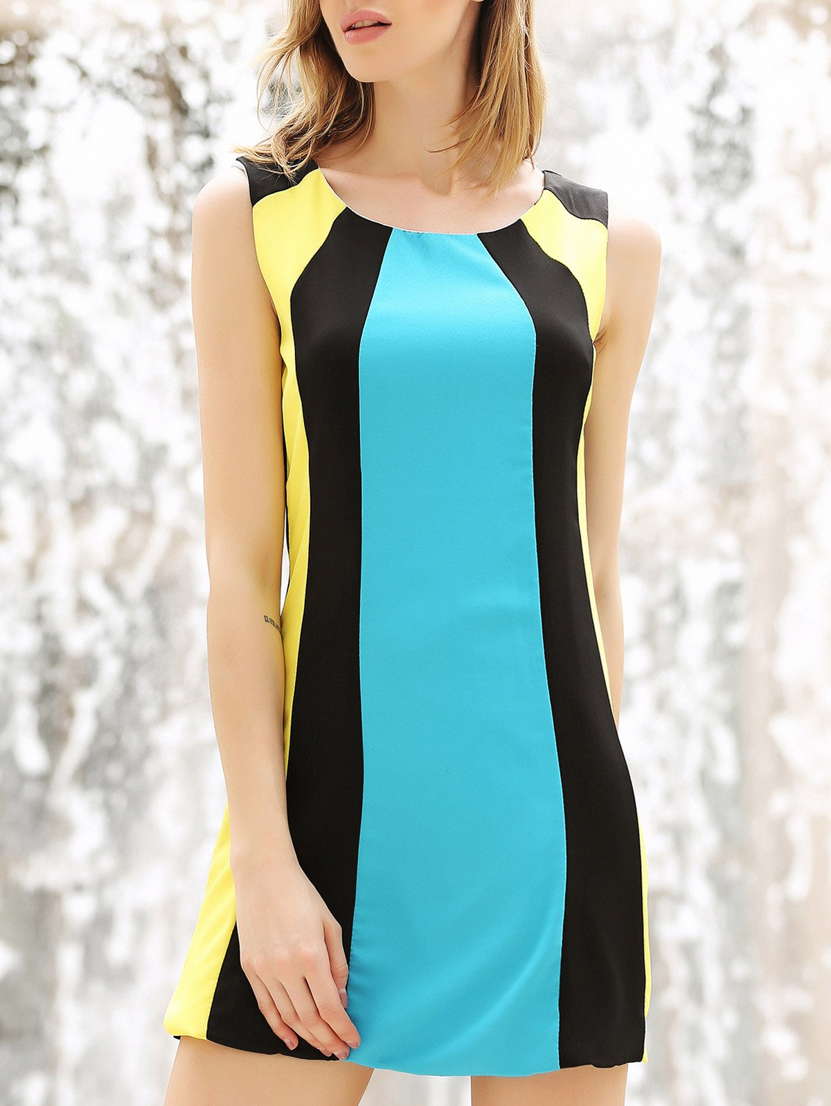 Color Block Splicing Round Collar Sleeveless Trendy Style Women's Dress - COLORMIX M