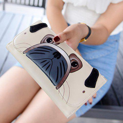 Cute Cover and Animal Print Design Women's Clutch Wallet - OFF WHITE