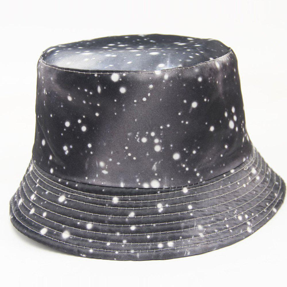 Personality Fashion Snowy Day Pattern Starry Sky Print Series Hipsters Bucket Hat - BLACK GREY