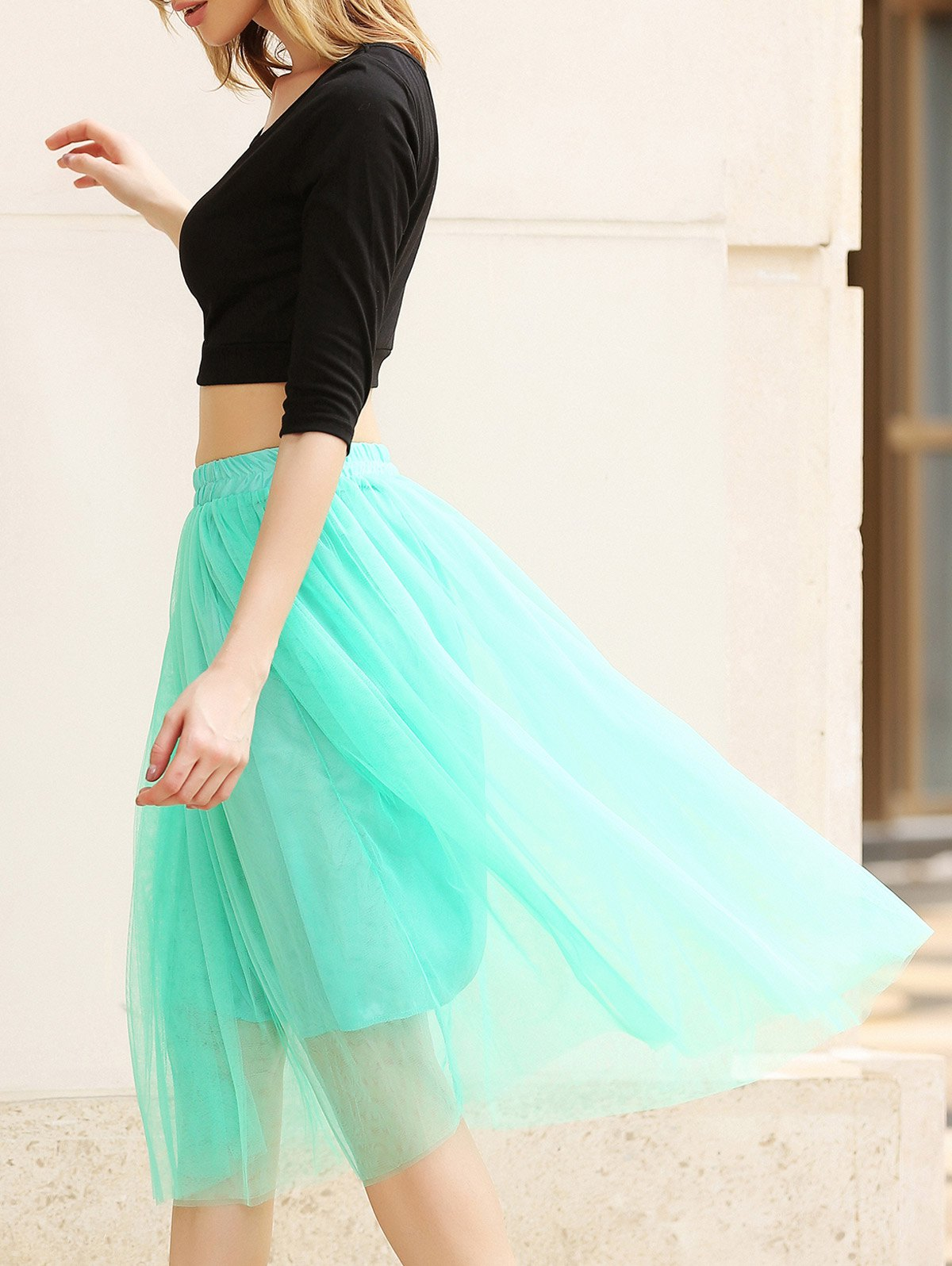 Refreshing Elastic Waist Puff Five layers Voile Multicolor Skirts For Women - GREEN FREE SIZE