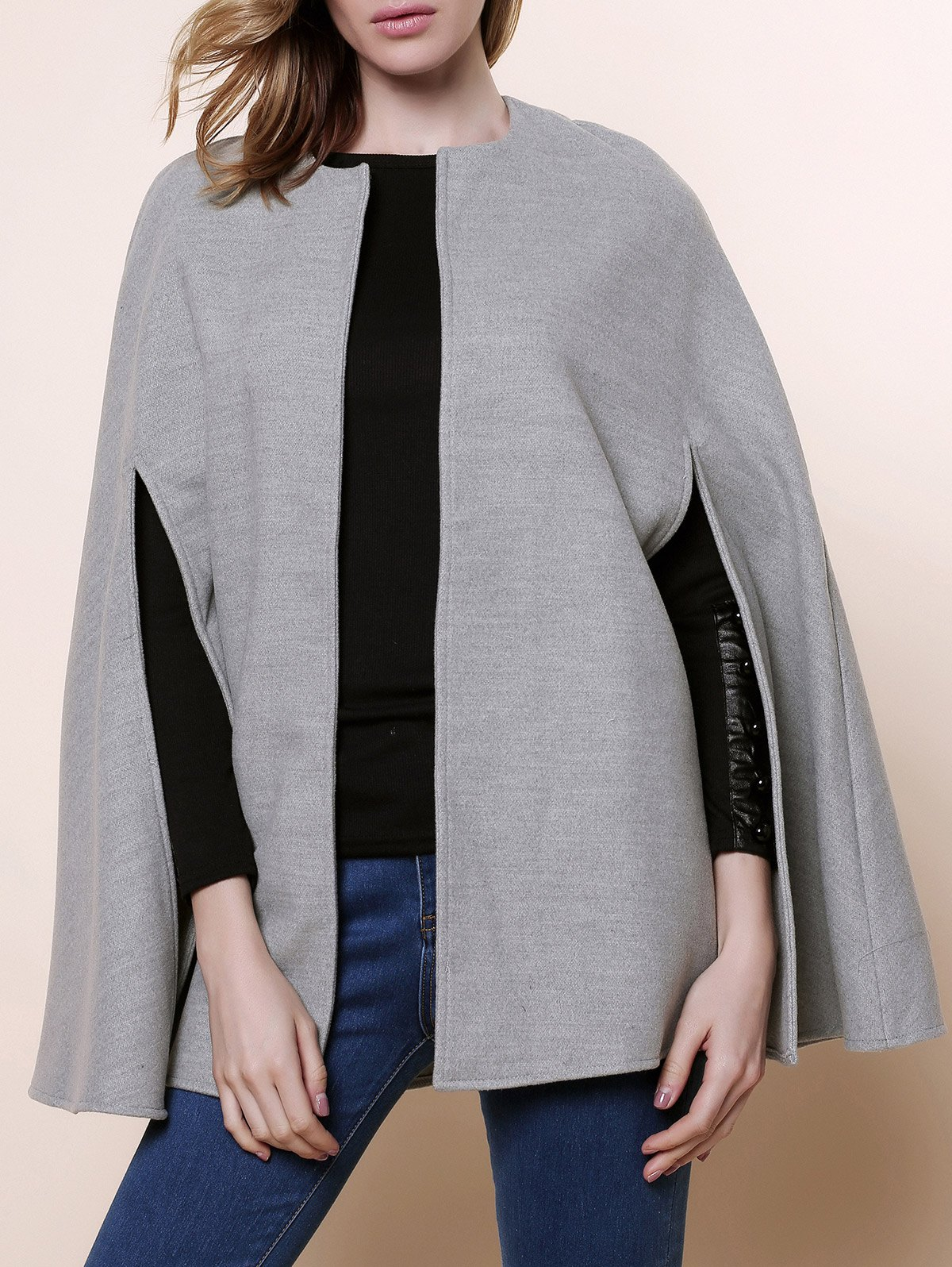 Stylish Round Neck Long Sleeve Asymmetrical Solid Color Women's Coat - GRAY ONE SIZE(FIT SIZE XS TO M)