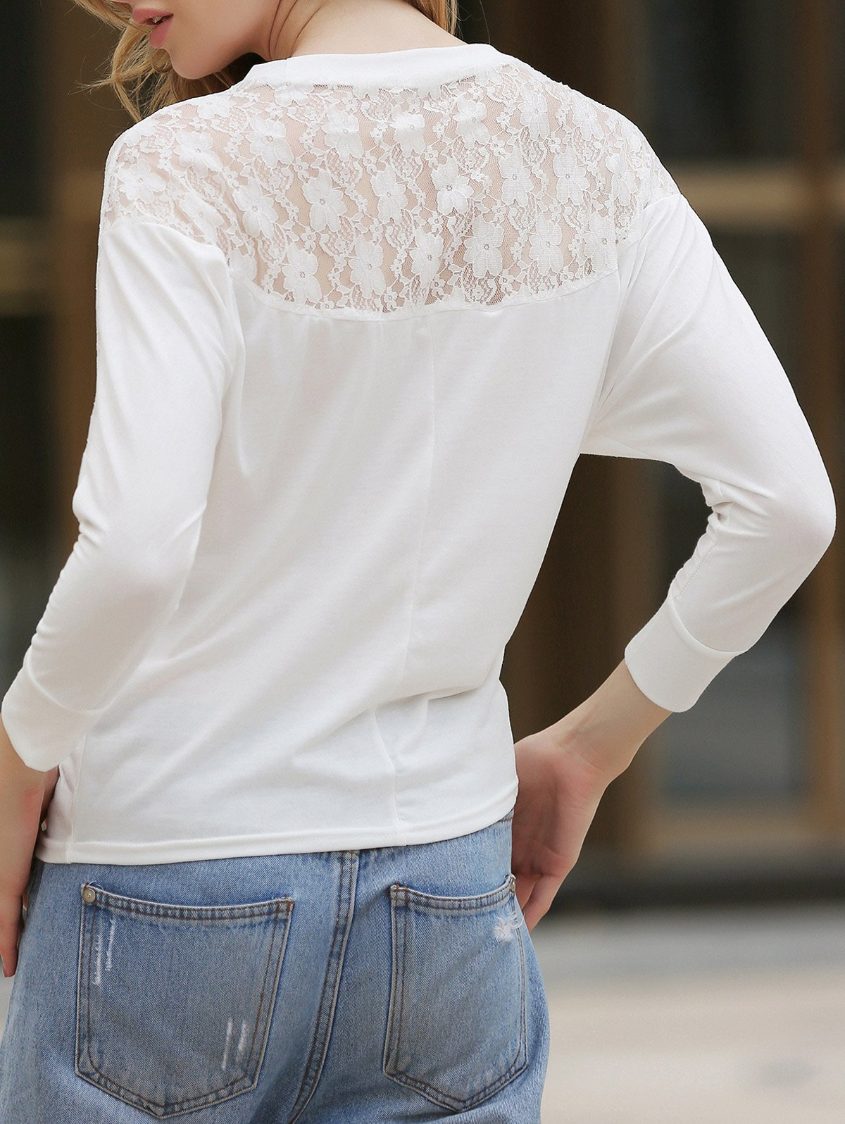 Women's Batwing Top Dolman Long Sleeve Lace Loose T-Shirt Blouse -  WHITE