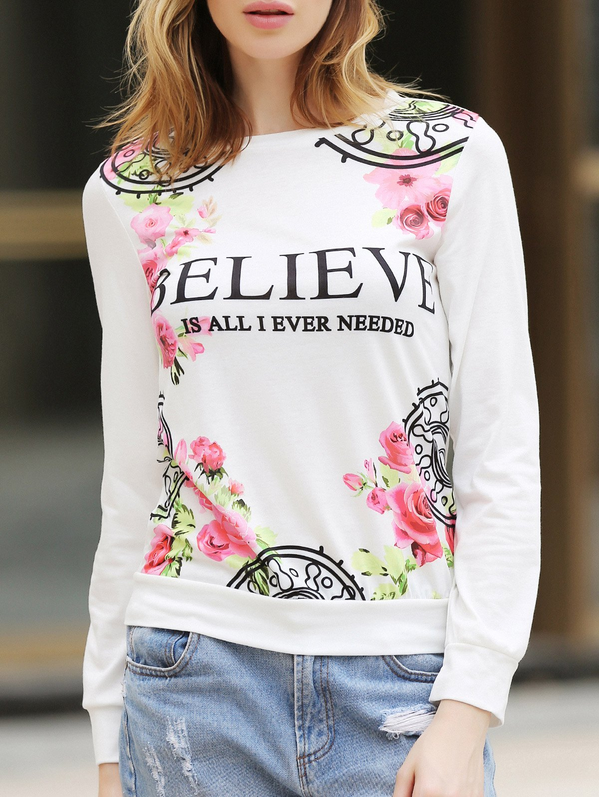 Casual Letter and Rose Printed Pullover Sweatshirt For Women - WHITE L