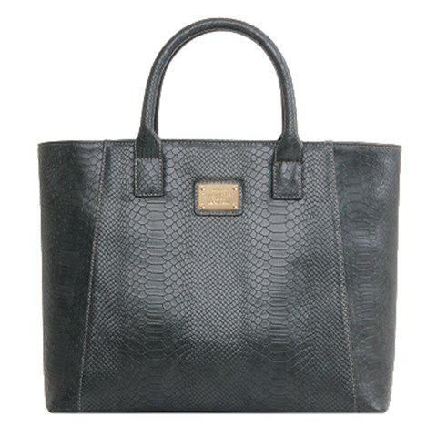 Stylish Crocodile Print and Metal Design Women's Tote Bag - DEEP GRAY