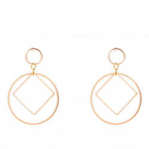 Pair of Simple Solid Color Square Circle Earrings For Women