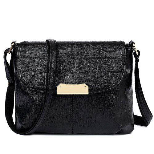 Trendy Magnetic Closure and Embossing Design Women's Crossbody Bag - BLACK