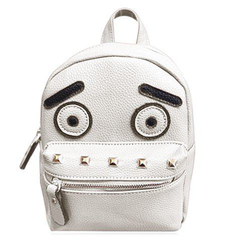 Stylish Hit Colour and Rivets Design Women's Backpack - OFF WHITE