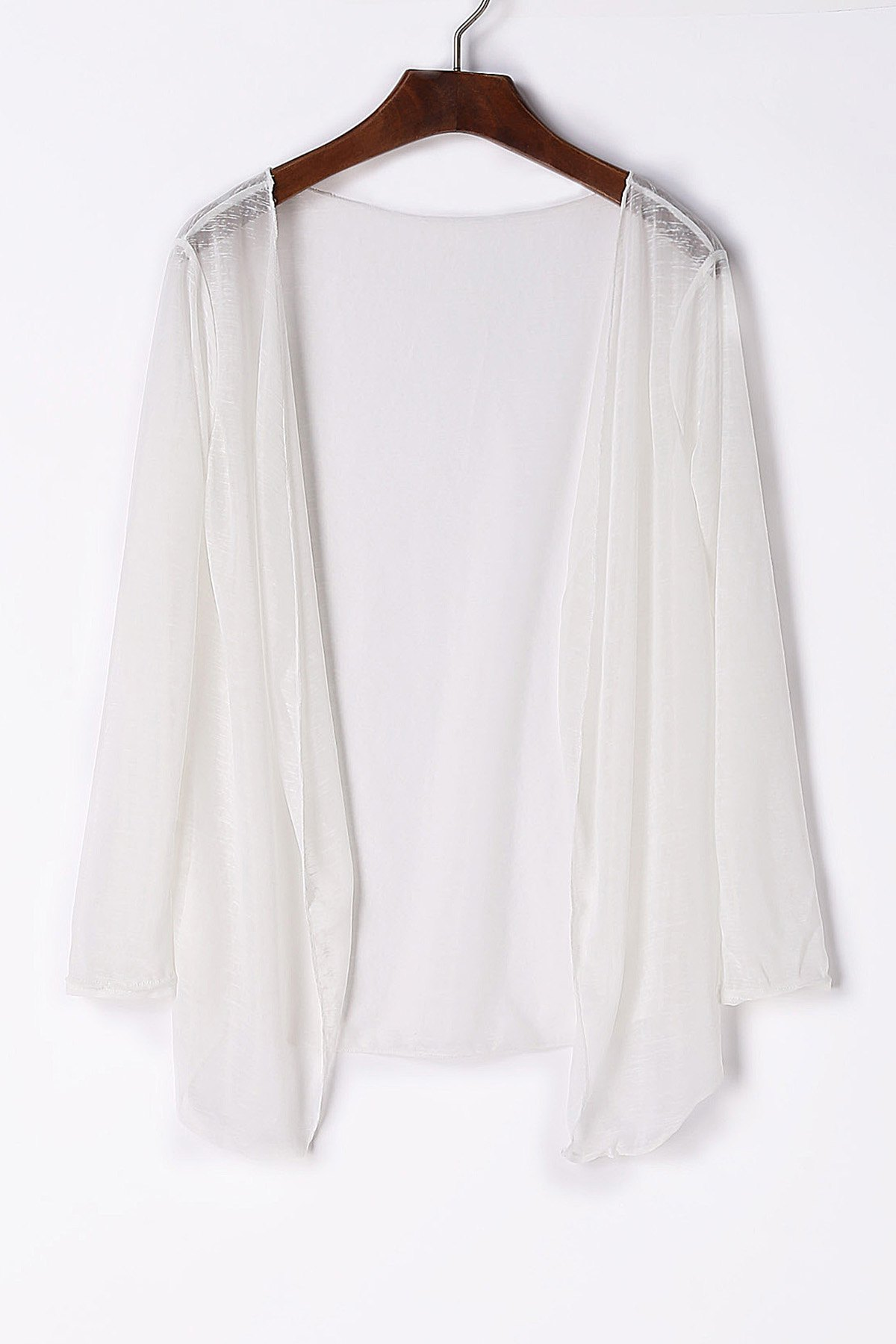 Brief Women's Collarless Candy Color Long Sleeve Cardigan - WHITE S