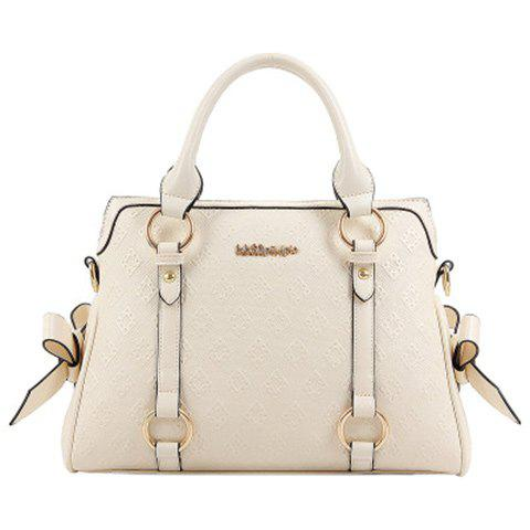 Graceful Embossing and Bow Design Women's Tote Bag - WHITE