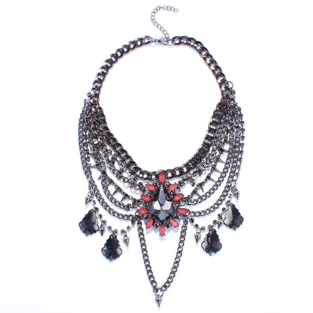 Charming Multilayered Rhinestone Water Drop Necklace For Women
