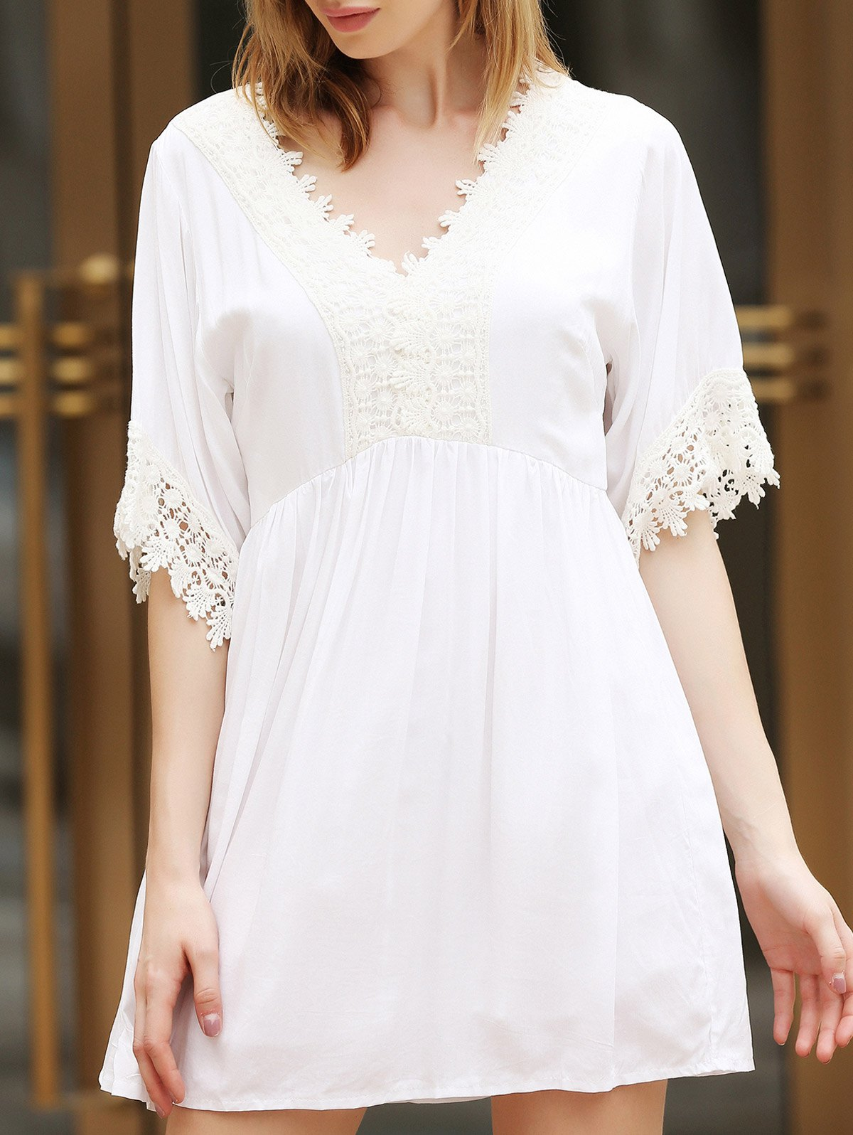 Lace Splicing Short Sleeve V-Neck White Color High-Waisted Loose Dress - WHITE S