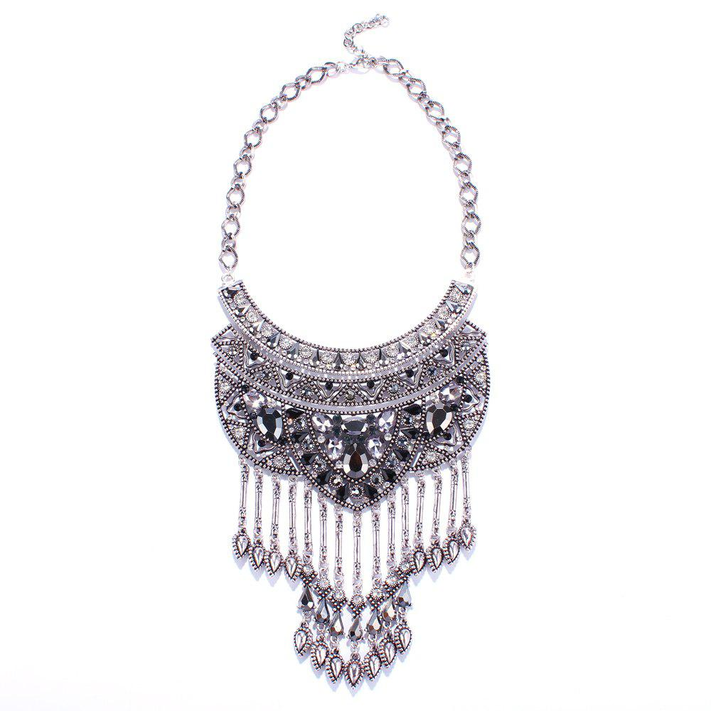 Punk Style Rhinestone Alloy Water Drop Necklace For Women
