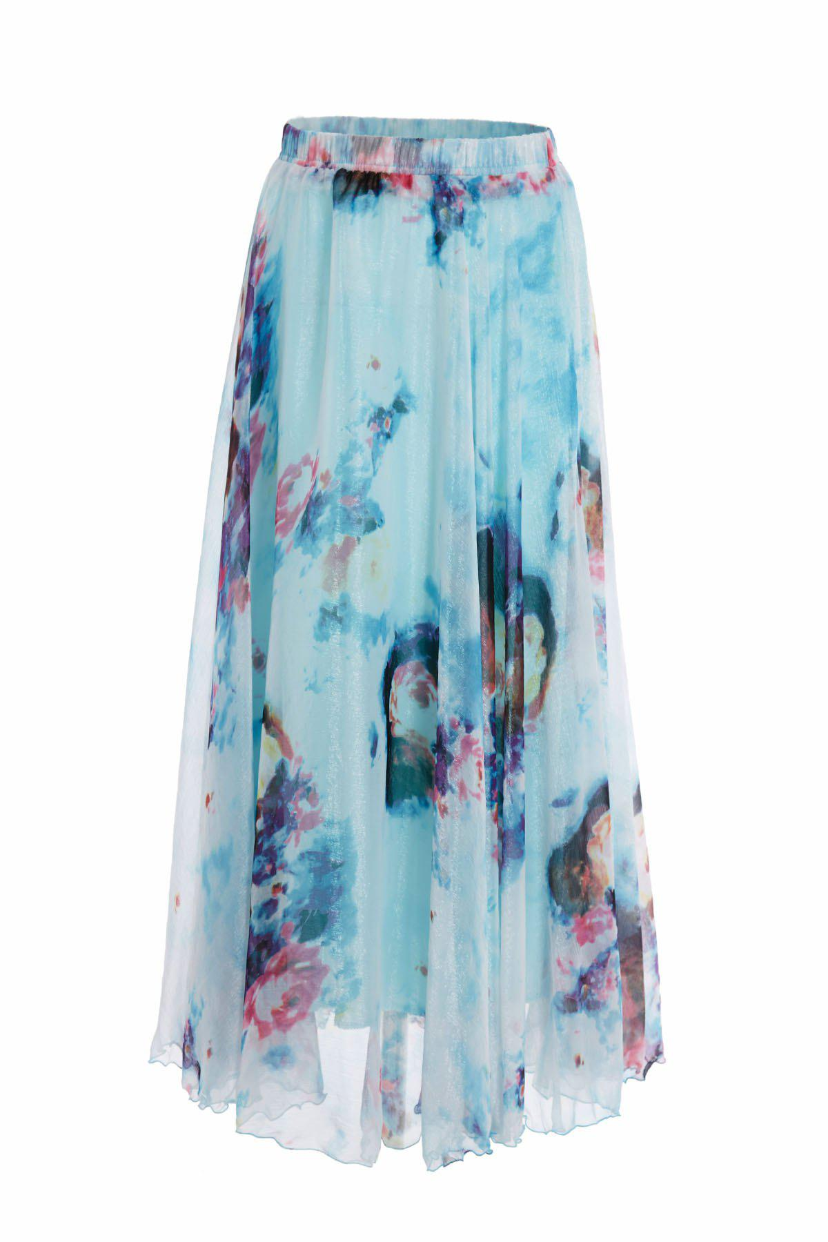 Bohemian Women's Floral Print Ankle-Length Chiffon Skirt - LIGHT BLUE S