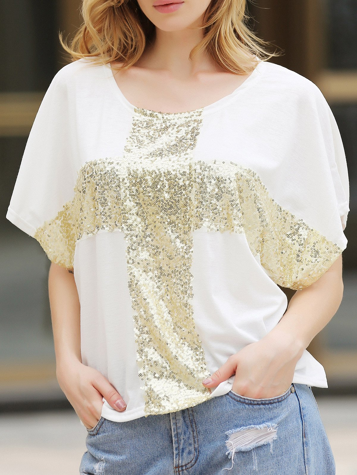 Women's Leisure Cross Sequins Decor Low Round Neck Loose T-shirt - WHITE M