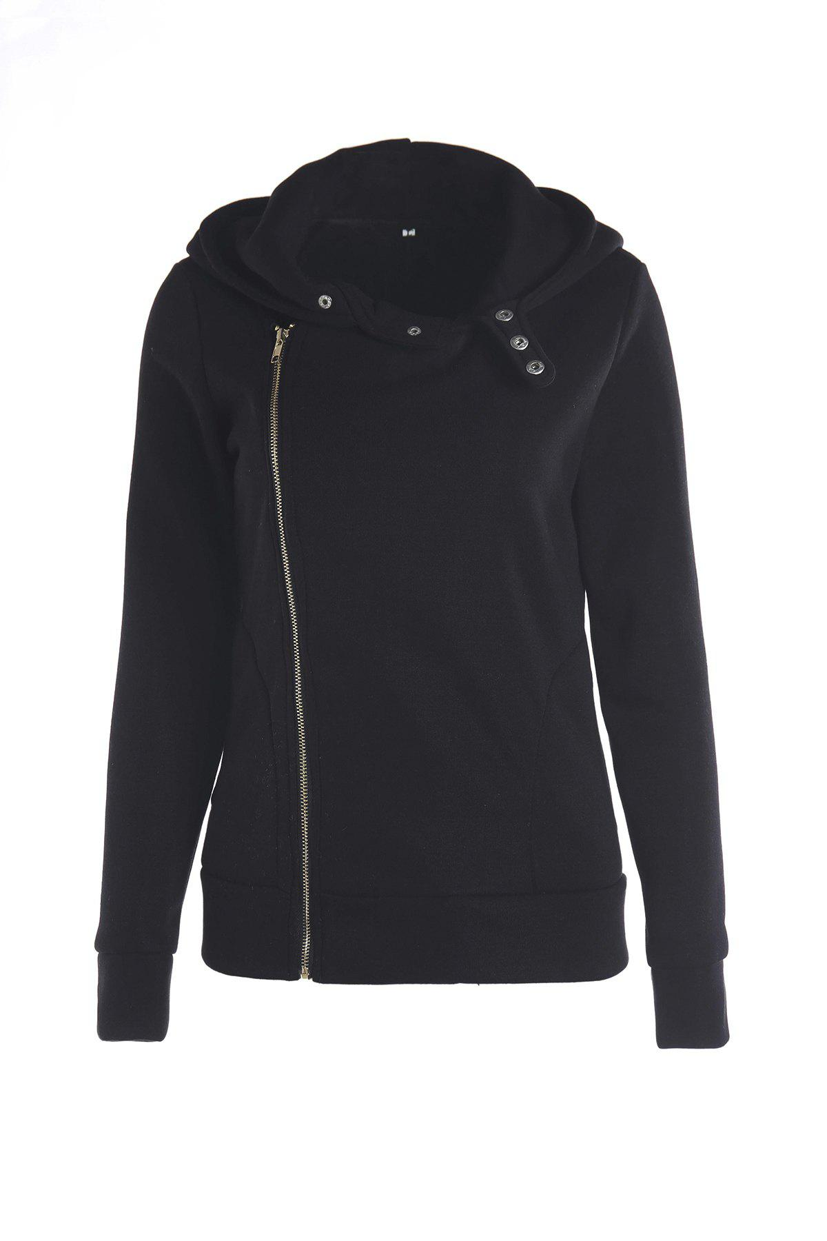 Stylish Women's Solid Color Long Sleeve Hoodie - BLACK L