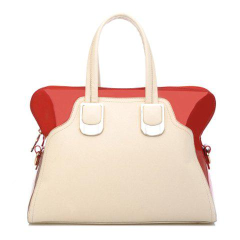 Graceful Color Block and Metal Design Women's Tote Bag - RED