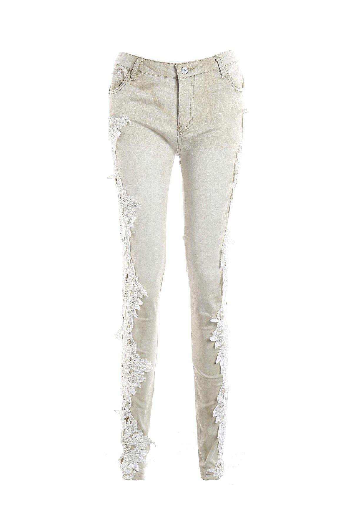 Casual Women's Lace Splicing Skinny Jeans - LIGHT APRICOT S