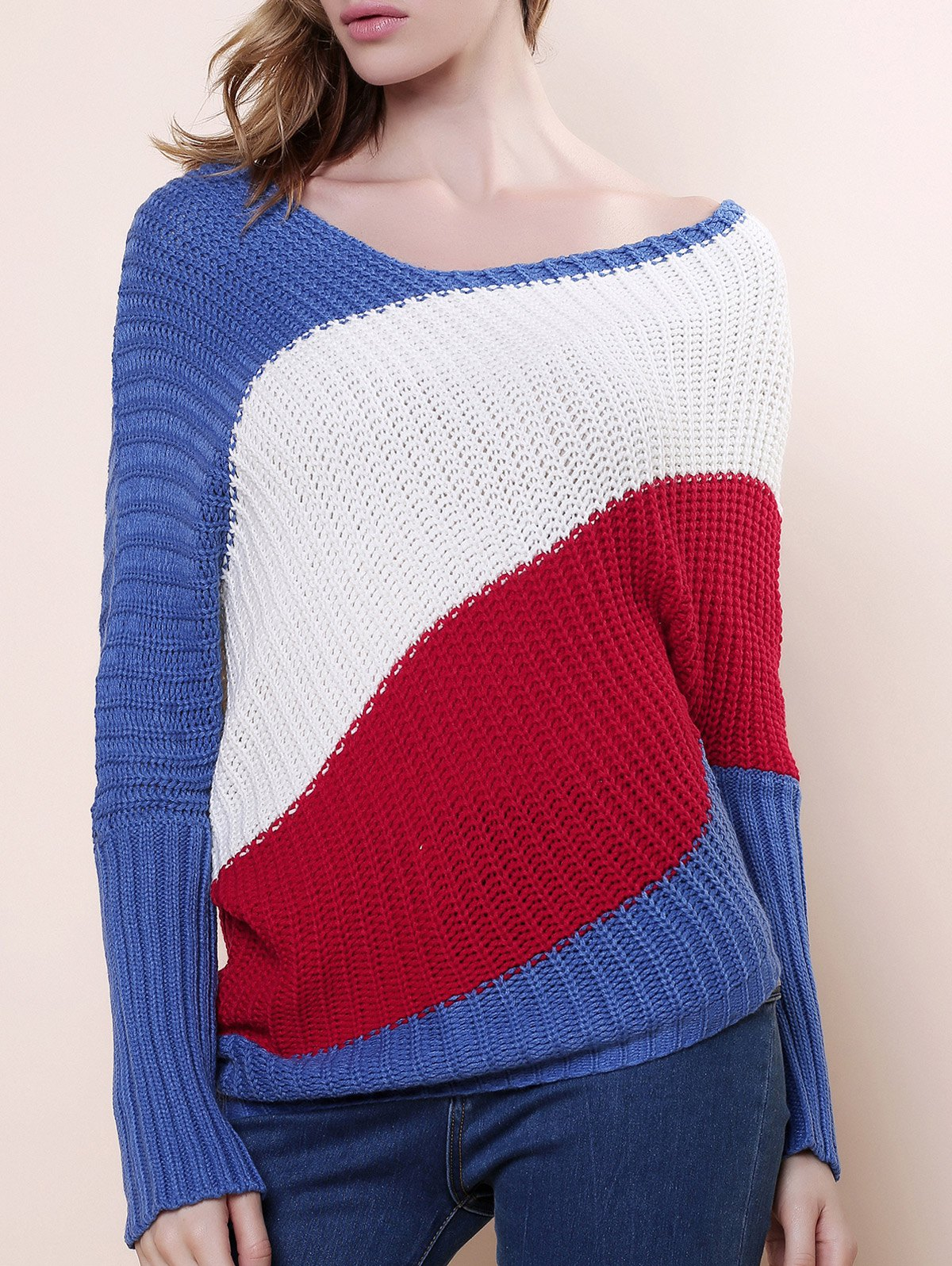 Sweet Style Batwing Sleeve Scoop Neck Color Stripe Knitting Women's Sweater - BLUE ONE SIZE