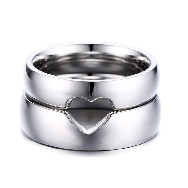 Pair of Romantic Hollow Out Heart Shape Rings For Lovers -  SILVER