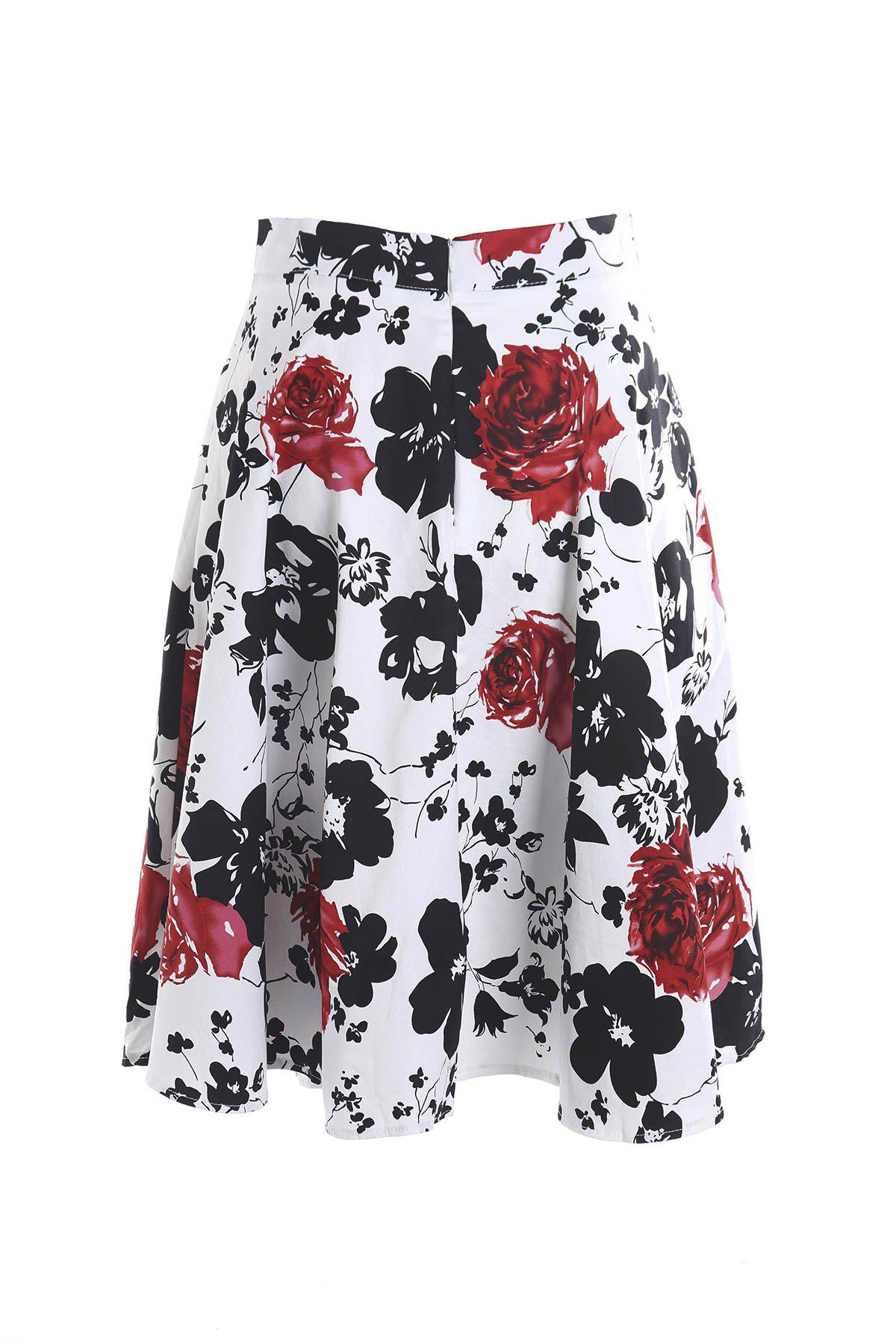 Vintage Style High-Waisted A-Line Floral Print Women's Skirt - RED/WHITE 2XL