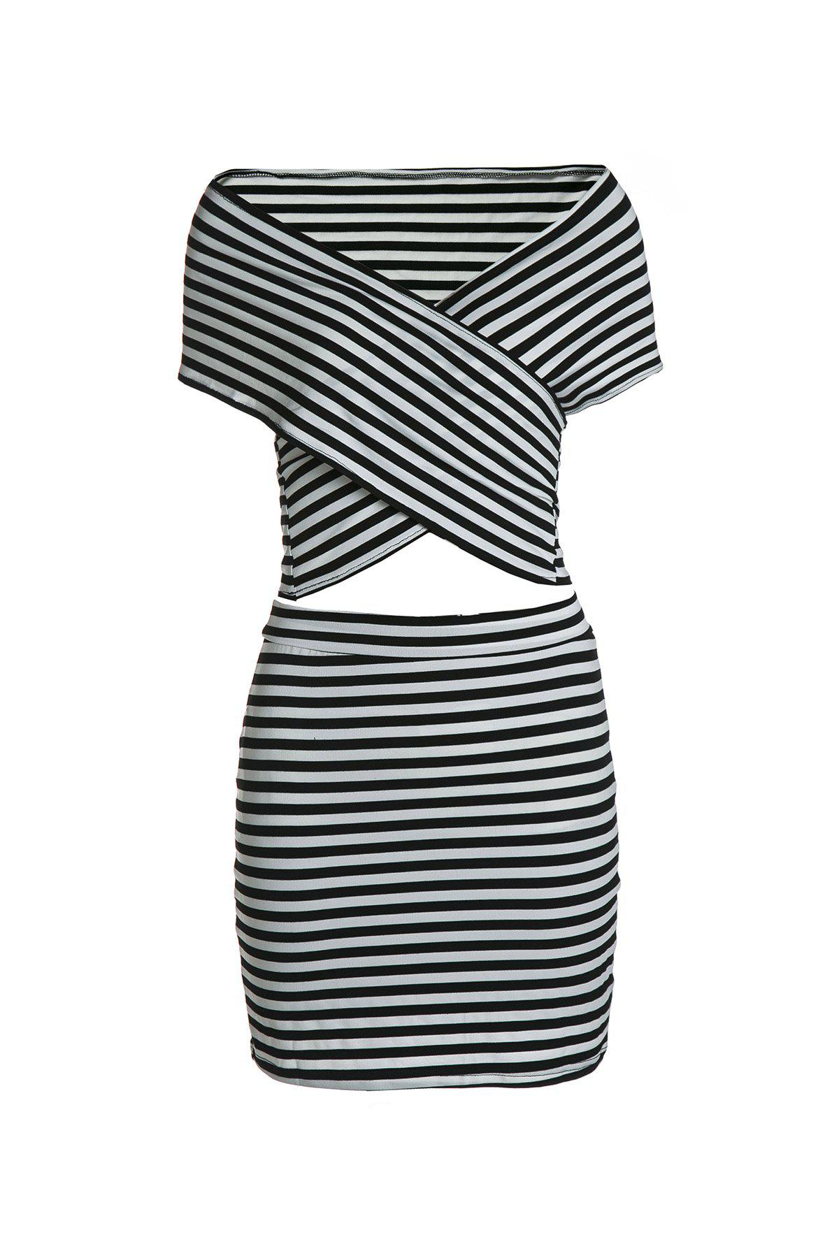 Sexy Short Sleeve Bodycon Striped T-Shirt+Sheathy Skirt Twinset For WomenWomen<br><br><br>Size: S<br>Color: WHITE AND BLACK