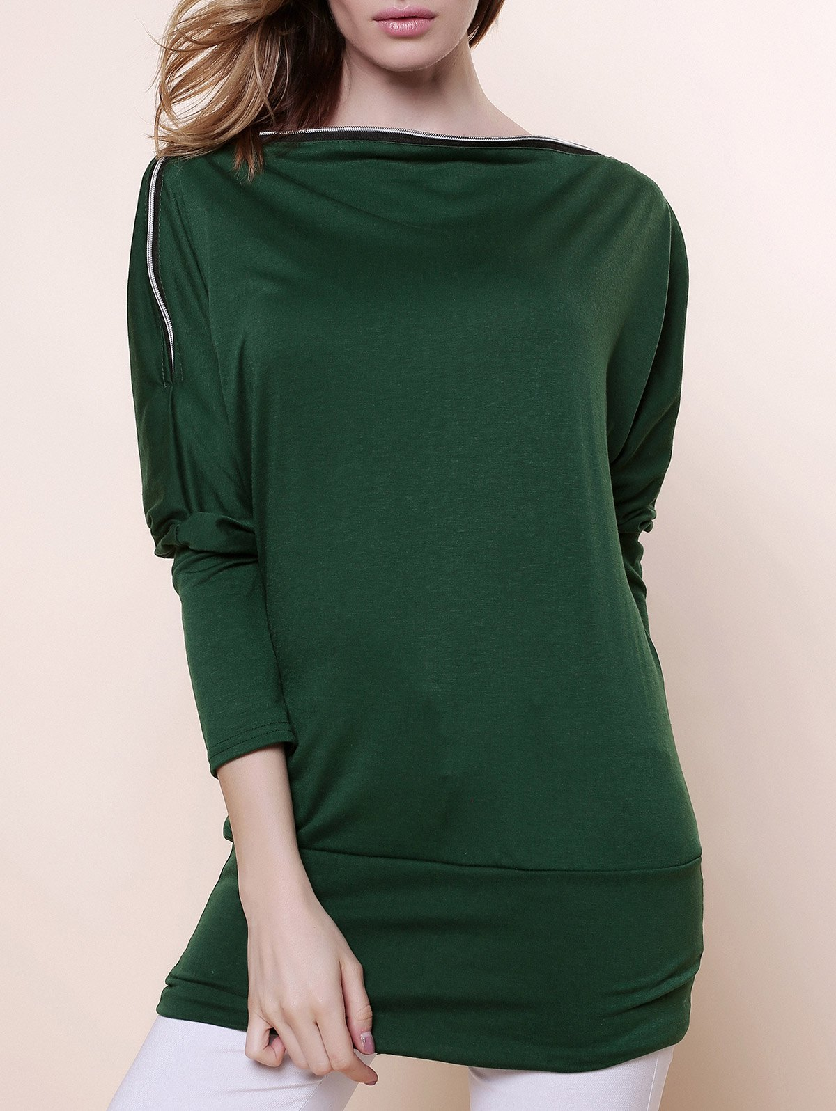 Charming Boat Neck Solid Color Zipper Embellished Long Sleeve Cotton Blend Women's T-Shirt - GREEN ONE SIZE