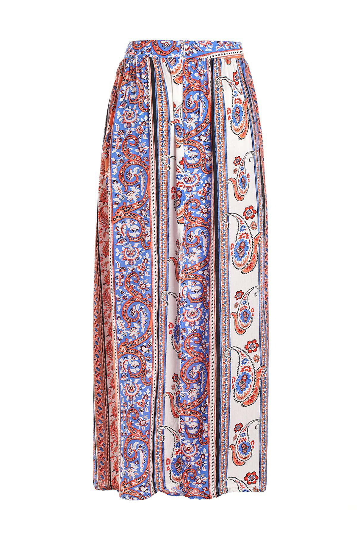 Stylish High Waisted Vintage Print Women's Maxi Skirt - JACINTH M