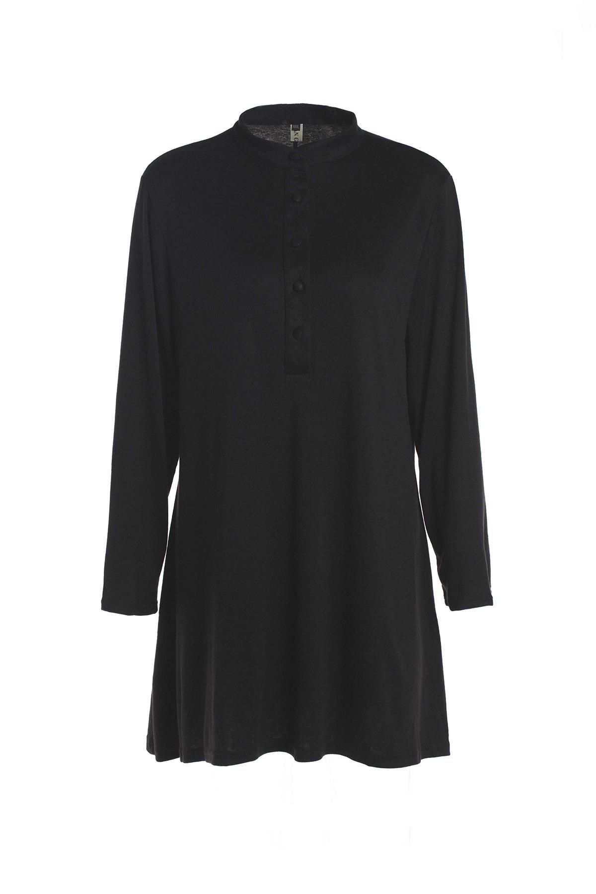 Casual Stand Collar Solid Color Plus Size Long Sleeve Women's Dress - BLACK 4XL
