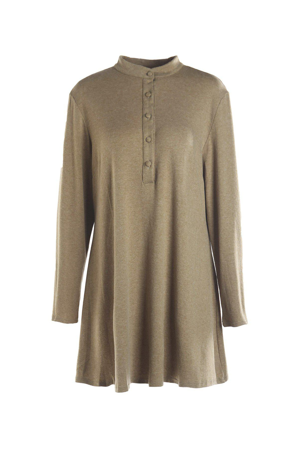 Casual Stand Collar Solid Color Plus Size Long Sleeve Women's Dress - DARK KHAKI 3XL