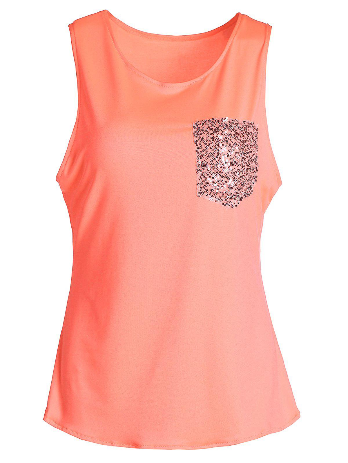 Stylish Sleeveless U-Neck Sequined Women's Tank Top - ORANGE XL
