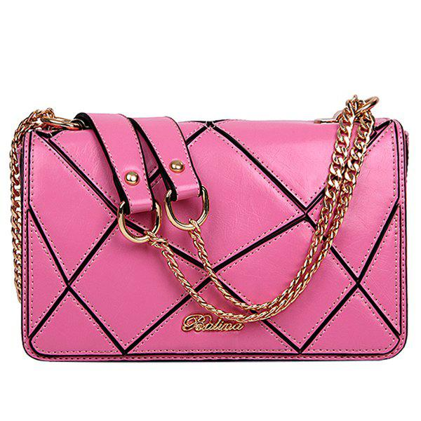 Stylish Geometric and Chains Design Women's Crossbody Bag - PINK