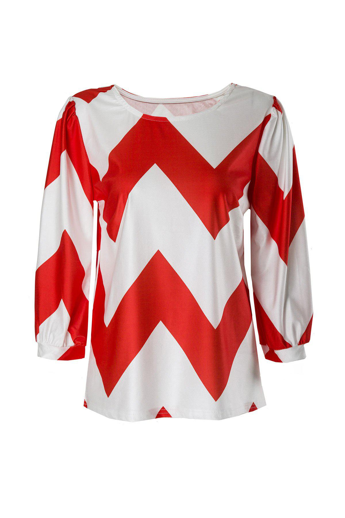 Trendy Chevron Printed 3/4 Sleeve Loose Blouse For Women - RED/WHITE M