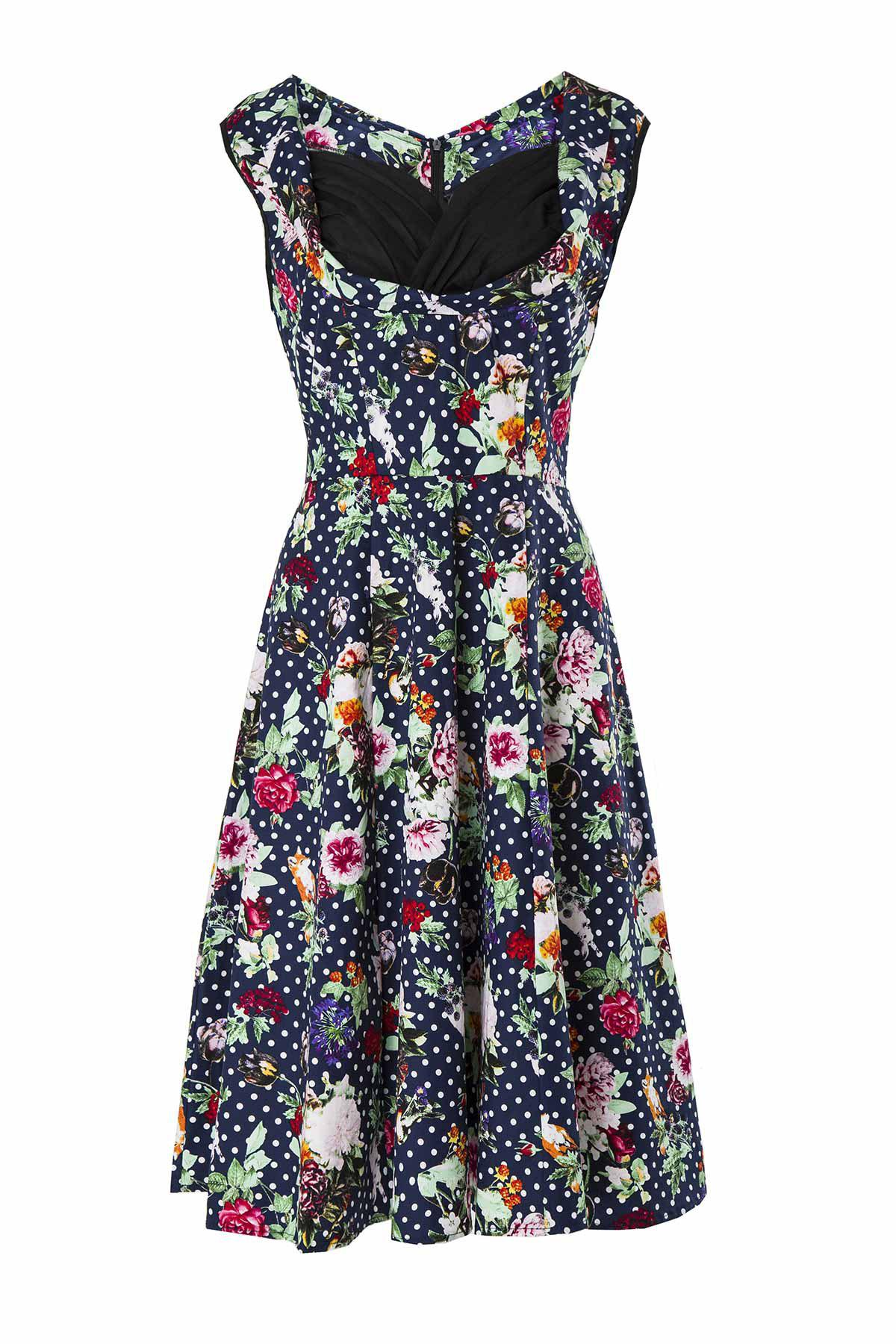 Vintage Sweetheart Neck Sleeveless Ball Gown Flower Pattern Women's Dress - BLACK S