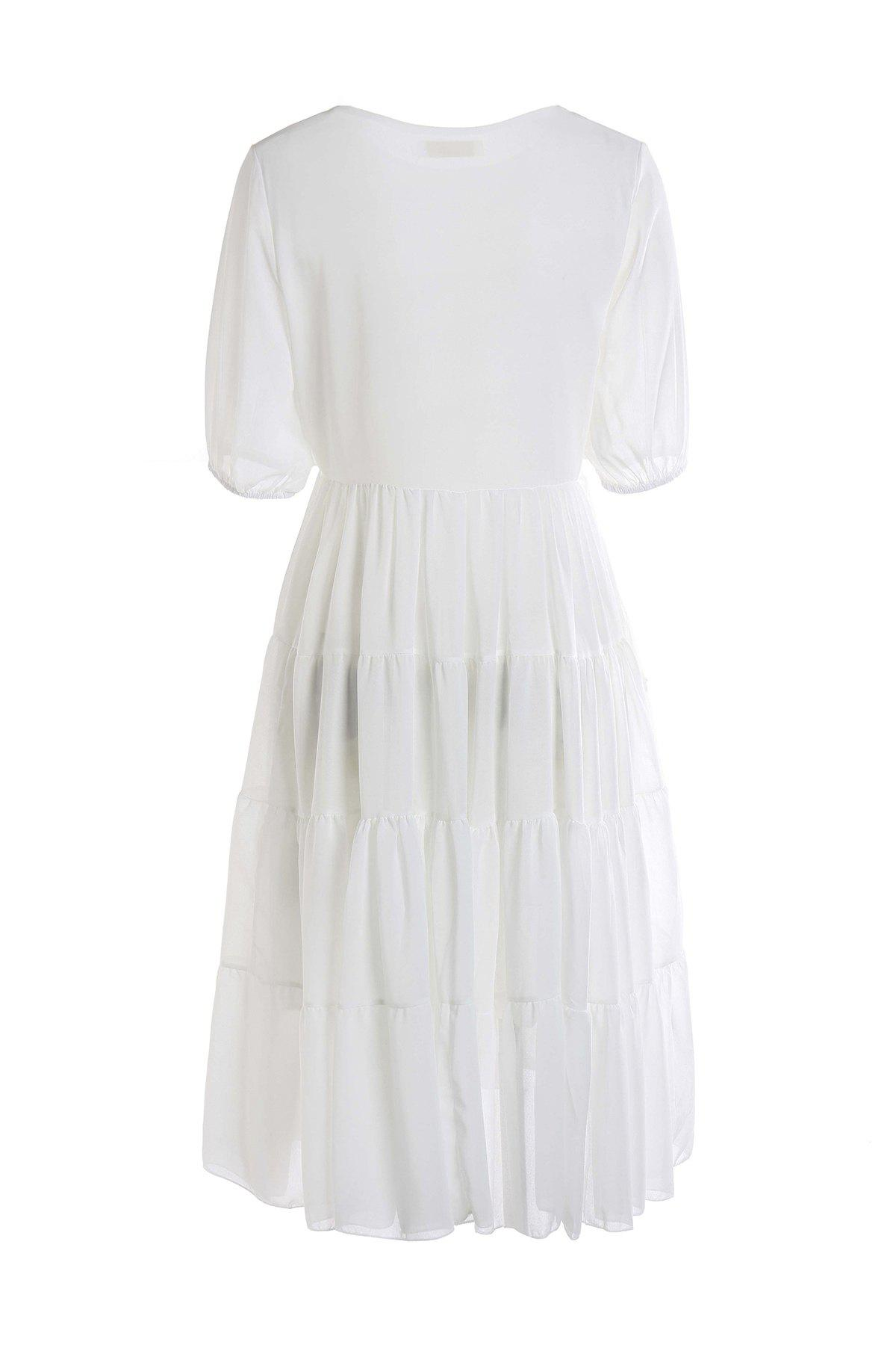 Stylish Scoop Neck Short Sleeve White Women's Maxi Dress - WHITE L