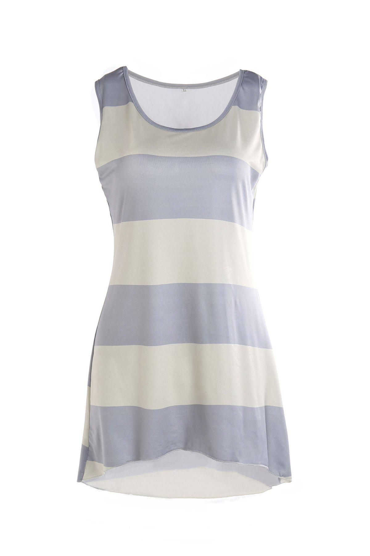 Stylish Scoop Collar Sleeveless Asymmetrical Striped Women's Tank Top - COLORMIX M