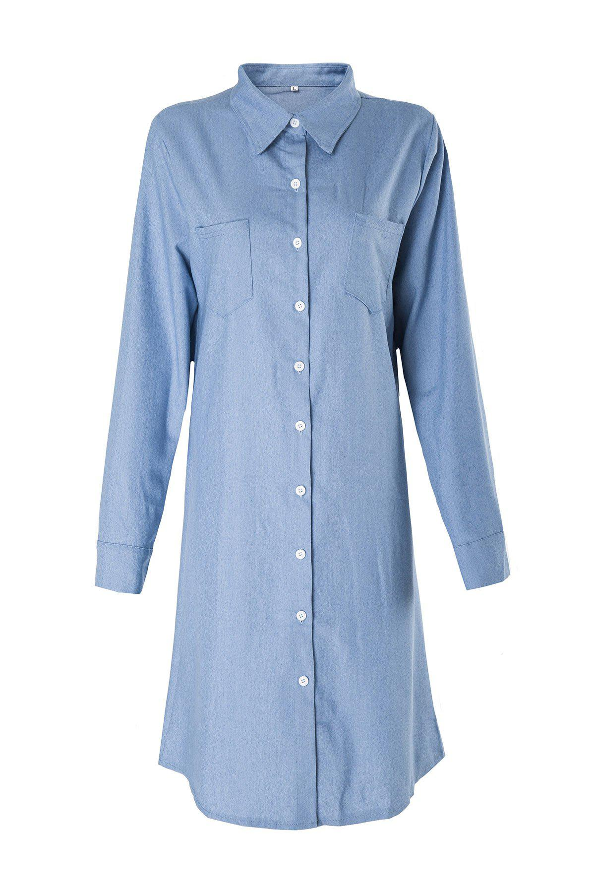 Brief Blue Polo Collar Long Sleeve Denim Blouse For Women - BLUE M