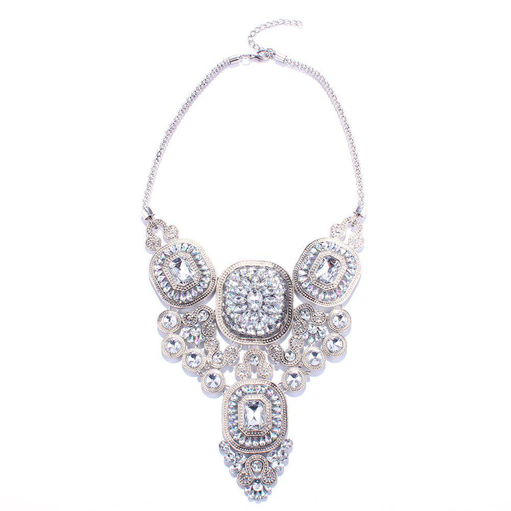 Geometric Faux Crystal Necklace - WHITE
