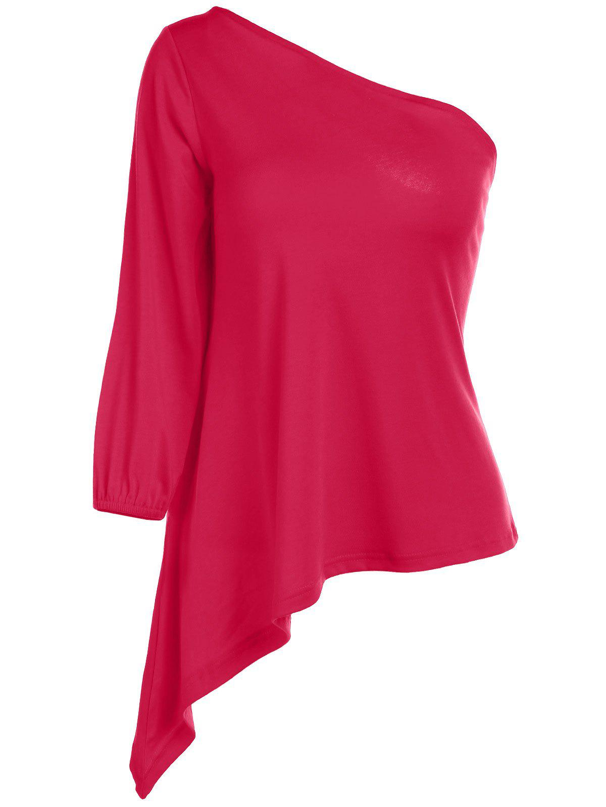 Sexy Women's One Shoulder 3/4 Sleeve Red T-Shirt