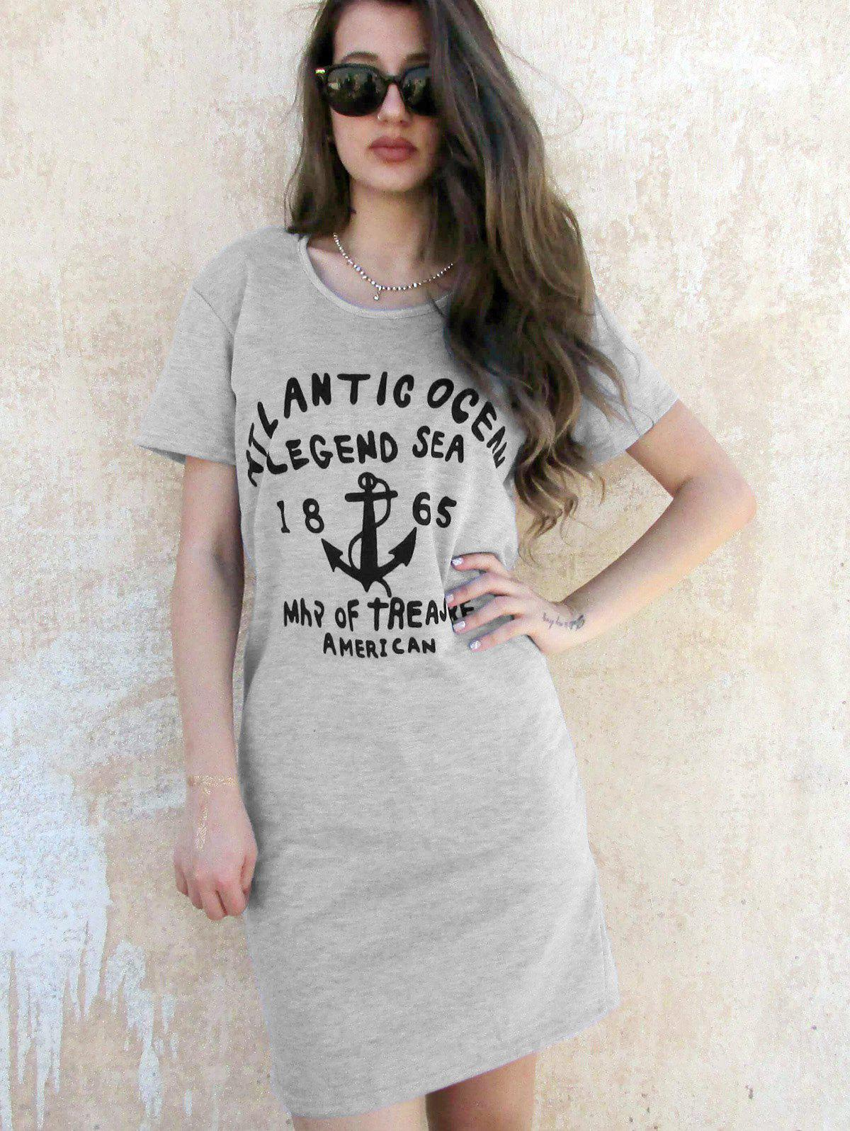Letter Print Casual Hooded Short Sleeve Women's Dress - GRAY ONE SIZE