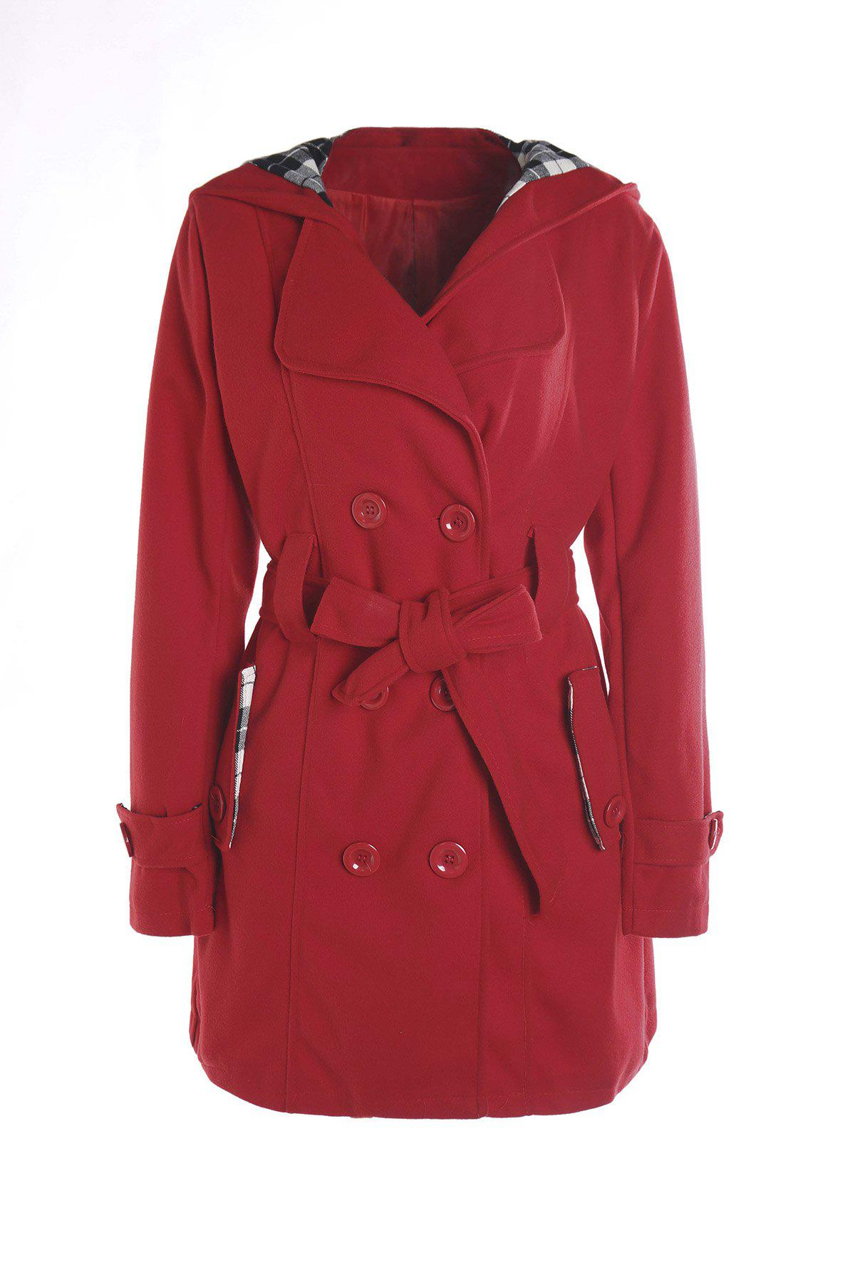 Stylish Double-Breasted Hooded Long Sleeve Worsted Coat For Women - RED M
