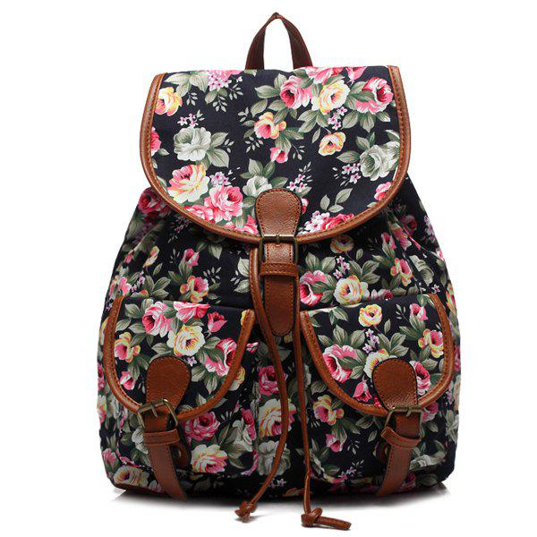 Casual Buckles and Tiny Flower Design Women's Satchel - BLACK