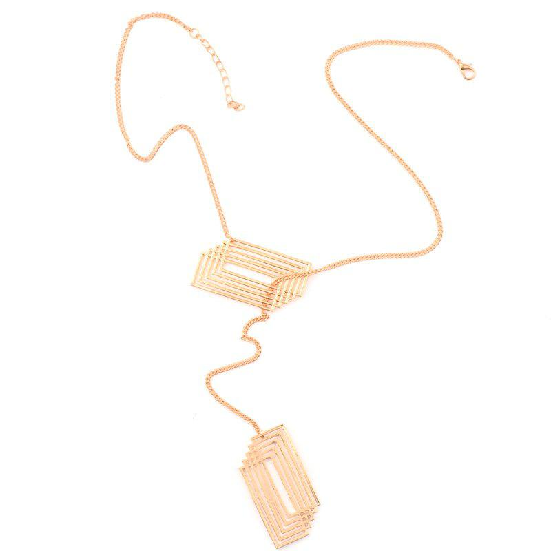 Crossed Rectangle Hollowed Pendant Necklace - GOLDEN