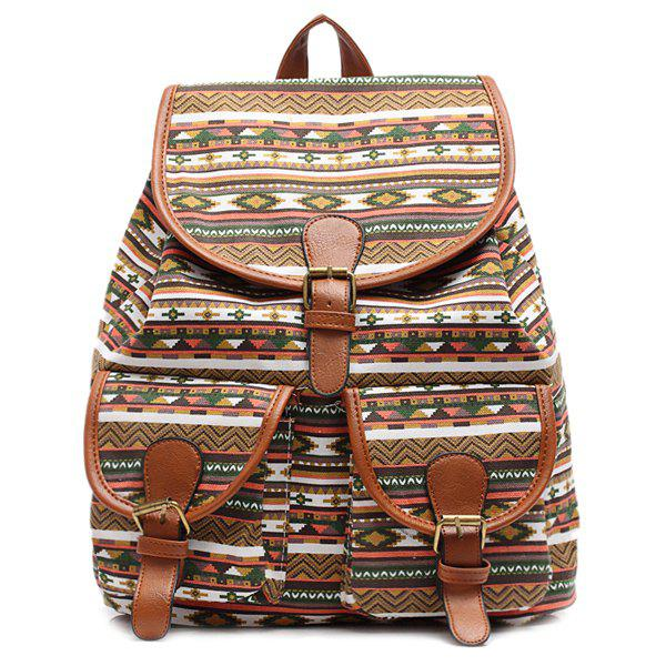 Ethnic Style Buckles and Geometric Print Design Women's Satchel - BROWN