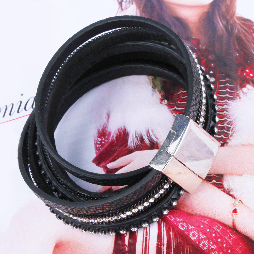 Faux Leather Alloy Bracelet - BLACK