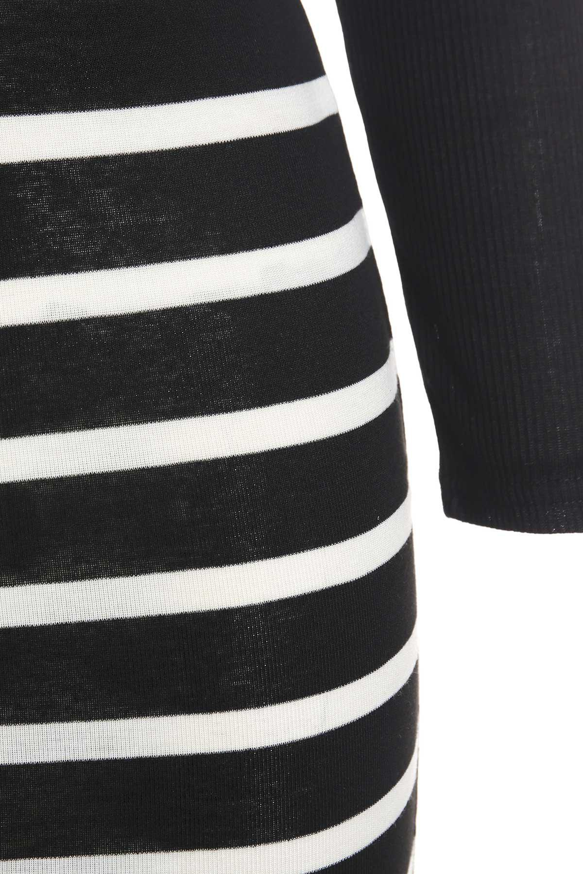 Sexy Style Round Neck Solid Color Long Sleeve Crop Top + Stripe Skirt For Women - BLACK L
