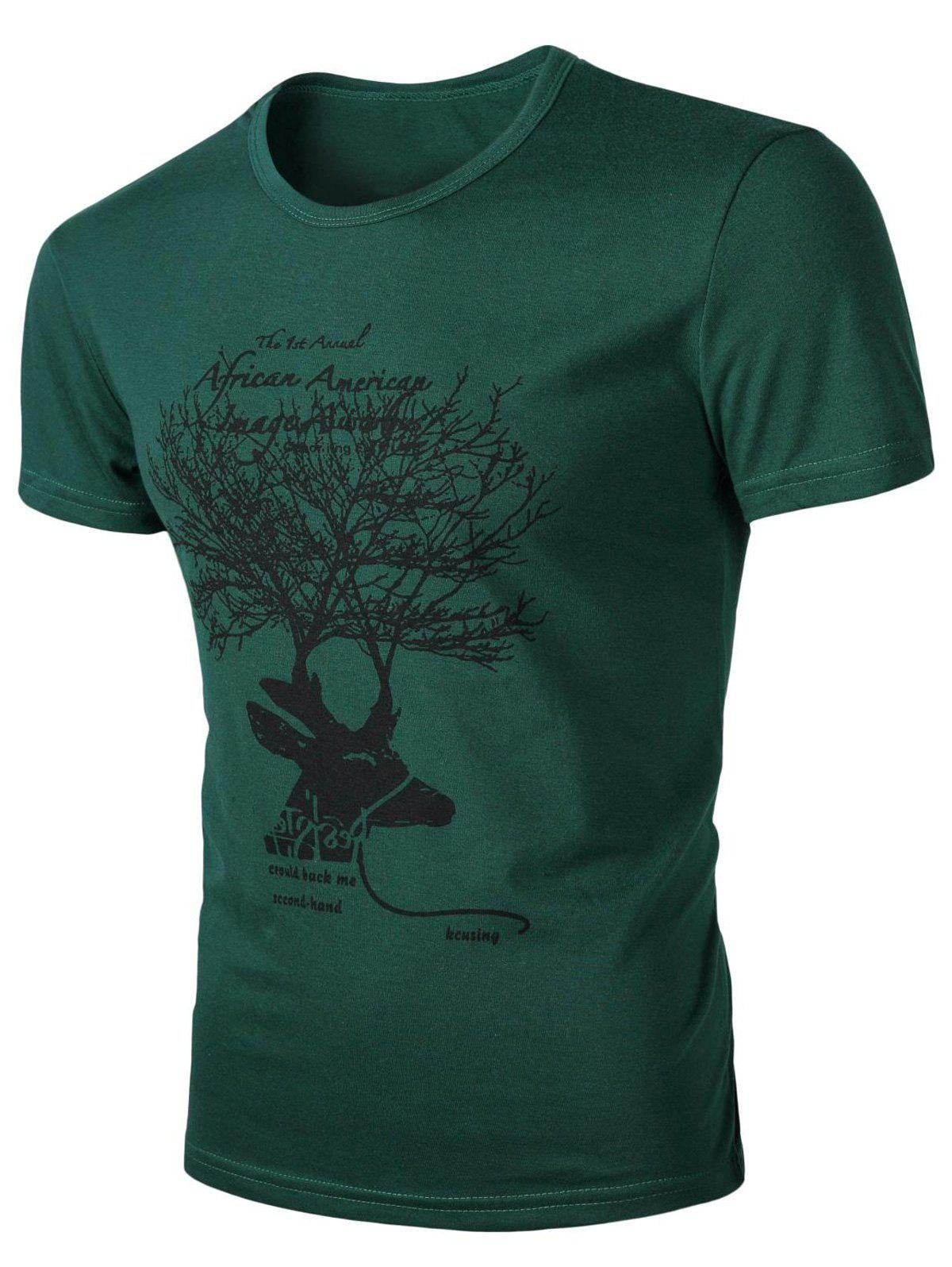 Men's Round Neck Deer Print Short Sleeves T-Shirt