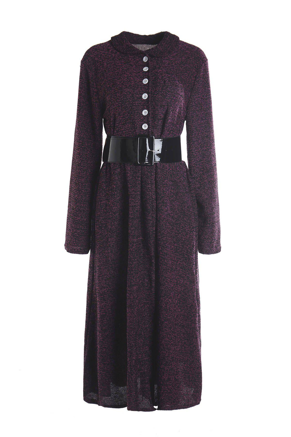 Vintage Women's Turn-Down Collar Long Sleeve A-Line Dress - PURPLE M