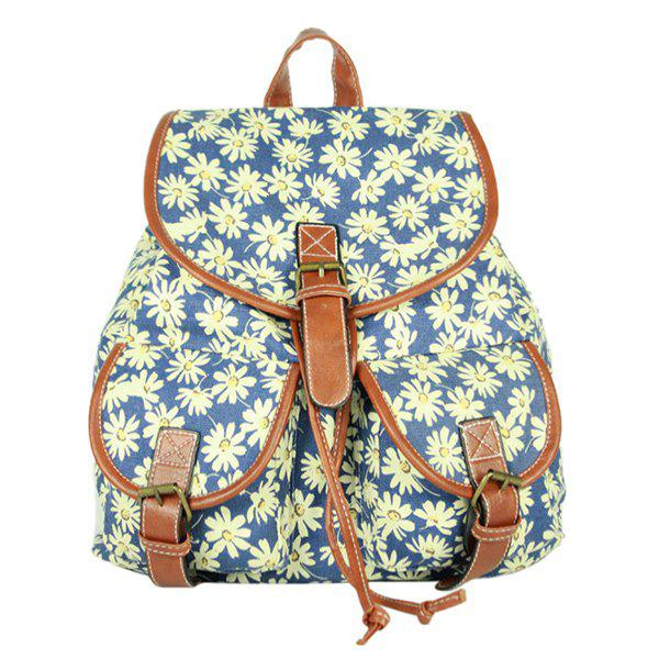 Preppy Style Drawstring and Canvas Design Women's Satchel - COLORMIX